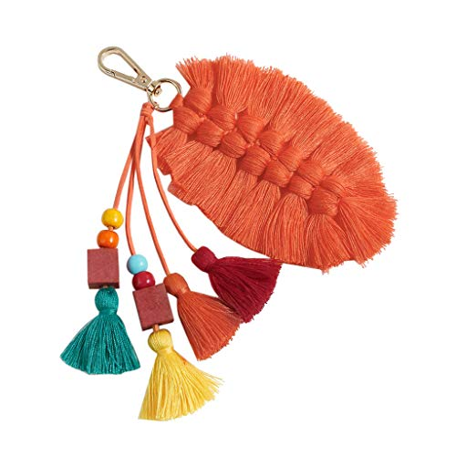 Irene Girls Hot Sale Multicolor Keychain Cute Creative Fringed Leaves Hanging Vintage Jewelry (Orange) ()