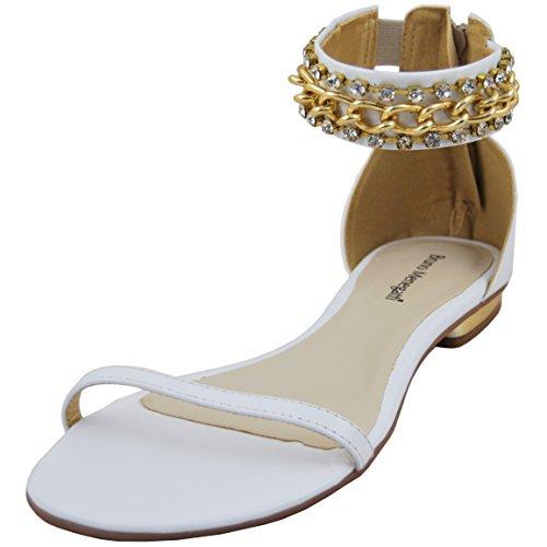 Menegatti Leather Womens 1818 Leather Womens Chain Bruno Bruno White Menegatti Strap Sandal Strap Chain 1818 aqA7Aw0