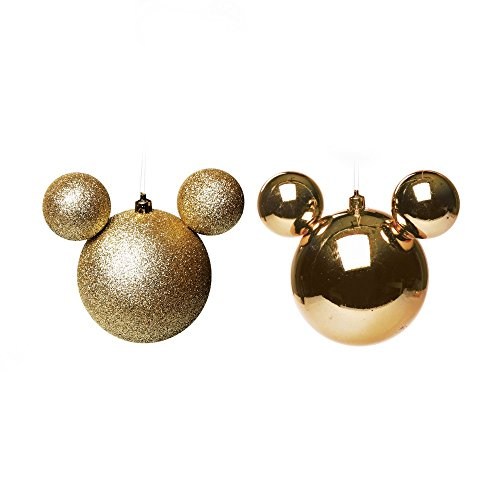 Bola Árvore Natal Disney 10Cm C/ 2 Pçs Dourado