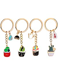 4 PCS Succulent Cactus Pot Keychain Novelty Metal Cute Plant Shape Keyring Charmed Gifts for Kids Women Girls Boys
