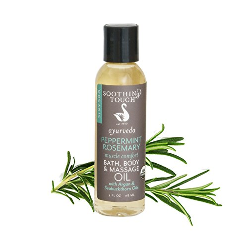 Soothing Touch Bath Body and Massage Oil - Organic - Ayurveda - Peppermint Rosemary - Muscle Comfort - 4 oz - Gluten Free - Moisturize your skin