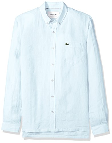 Lacoste Men's Long Sleeve Solid Linen Button Down Collar Reg Fit Woven Shirt, CH4990, Rill Light Blue, (Lacoste Crocodile Logo)