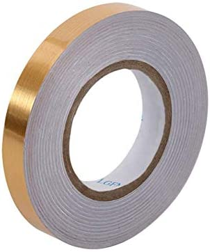 Gold Metalized Polyester Mylar Film Tape with Acrylic Adhesive, 0.8 in x 55 yds. Vibrant Mirror Like Finish, Gold Decor Tape for Detailing Accent Wall, Floor, Wardrobe, Cabinet, Bathroom, Graphic Arts