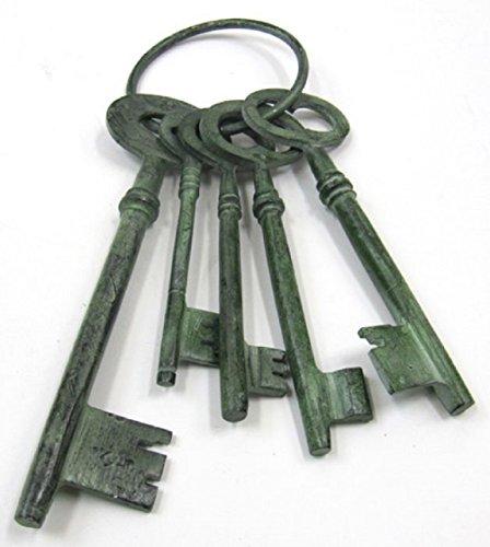 LARGE Set of Jailer Steampunk Skeleton Keys in Aluminum w/ Green Patina Finish 3