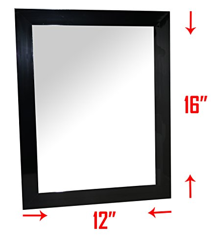 Large Frame Wall Mirror - Mirrored Rectangle for Hanging vertically or horizontally, 12 x 16 Inch Overall Size Wall Mirror for Bedroom, Bathroom –Black (Mirror Entryway Black)
