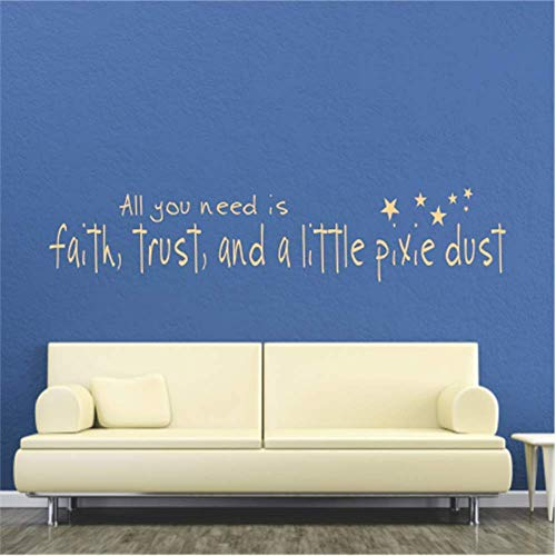 Funlaugh Wall Decor Stickers Inspirational Quotes and Saying All You Need is Faith Trust and A Little Pixie Dust Nursery Kids Room 28.6 inch x 5.2 inch Mural Wall Art Decal