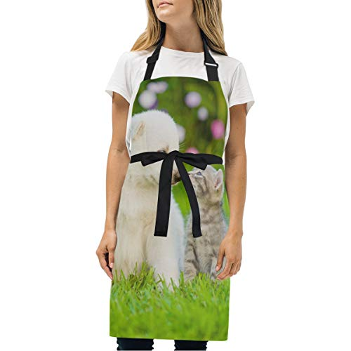 My Little Nest Puppy Kiss Cat Woman Girl Kitchen Apron with Adjustable Neck Two Side Pockets