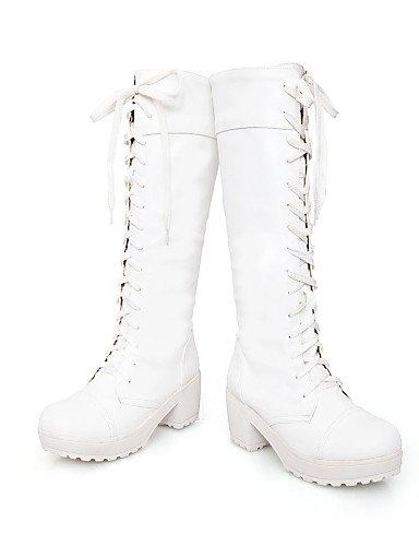 cuero Trabajo Black 5 Y White Oficina Casual Zapatos 5 Eu37 Redonda us6 Exterior Mujer 5 Cerrada Cn39 Eu39 Tacón Punta Uk4 Botas Uk6 Xzz De Cn37 Robusto us8 Vestido 7 Z71w7q