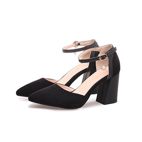 CXQ-Talons QIN&X Women's Pointy Toe Bouche Peu Profonde Bloc Prom High Heels Pompes Chaussures Black Mr6nuiJy