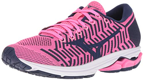 Mizuno Women's Wave Rider 22 Knit Running Shoe, Pink glo-Sodalite Blue, 8.5 B US