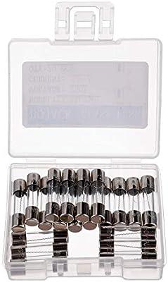 BOJACK F6.3AL250V 5x20 mm 6.3 A 250 V Fusibles de fundici/ón r/ápida 6.3 amperio 250 voltios 0.2 x 0.78 pulgadas Fusibles de tubo de vidrio paquete de 20 piezas