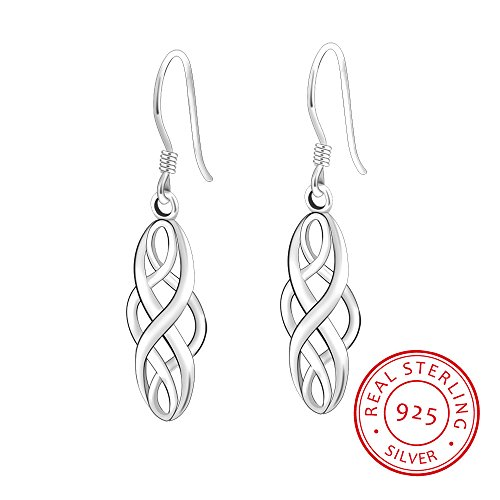 S925 Silver Earrings Enjoit Celtic Knot Drop Dangle Twist Wave Symbol Inifity Ear Loops for Women Girls (Celtic Sterling Earrings)