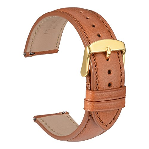 - WOCCI 20mm Full Grain Leather Watch Band with Gold Buckle, Quick Release Strap(Gold Brown with Tone on Tone Seam)