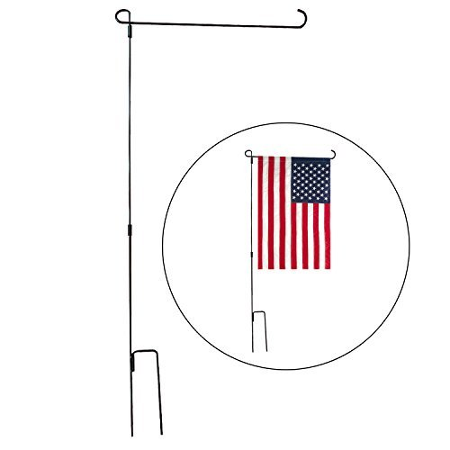 Ldoux Garden Flag Stand Holder, 36.2'' Tall x 16.9'' Wide Garden Flag Holders for 12'' x 18'' Mini Flag - Black, Flag Pole Only