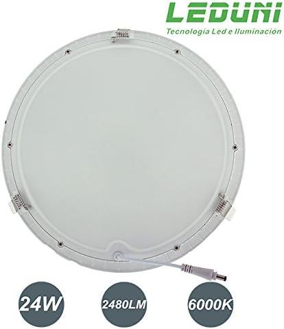 20Hmm Dimension de corte 285mm LEDUNI /® Downlight Panel LED Redondo 24W Circular 2480LM Color Blanco C/álido 3000K Angulo 120 IP40 OPAL Aluminio 300
