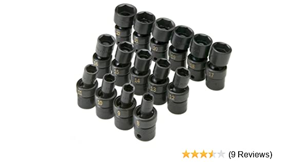 SK Hand Tools 33350 15-Piece 3//8-Inch Drive 6 Point Swivel Metric High Visibility Impact Socket Set