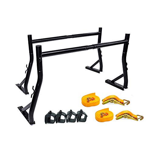 AA-Racks X35 Truck Rack with (8) Non-Drilling C-Clamps and (2) Heavy Duty 1 Ton Ratcheting Strap Pick-up Truck Utility Ladder Rack Matte Black