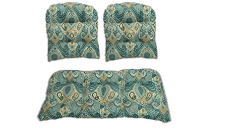 RSH Décor 3 Piece Wicker Cushion Set - Indoor/Outdoor Boho Passage Spa Blue Paisley Print Fabric Cushion for Wicker Loveseat Settee & 2 Matching Chair Cushions (Wicker Furniture Settee)