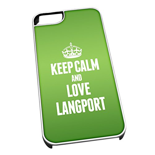 Bianco cover per iPhone 5/5S 0376 verde Keep Calm and Love Langport