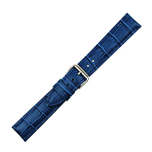 RECHERE Alligator Grain Leather Watch Band Strap Pin Buckle Color Blue (22mm)