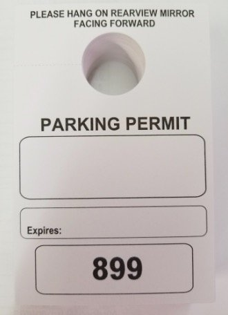 Parking Permit Hang Tags, 3 1/8 X 4 3/4, Numbered 0800-0899, Box of 100 by TAGS BY DESIGN (Image #1)