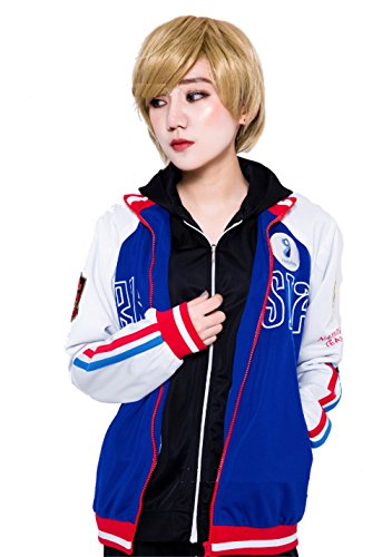 JapanAnimeCosplayExcellent Yuri!!! on Ice Plisetsky Cool School Unisex Zip-Up Pocket Outdoor Sportswear Costume (M(158-165cm) 5'4, Jacket)