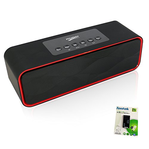 (Portable Bluetooth Stereo Speaker, with 2X5W Dual Acoustic Drivers,FM Radio & Handsfree Speakerphone, Micro SD Card & USB & AUX Slots for Smart Phone, MP3, MP4, iPad, Tablet & More)