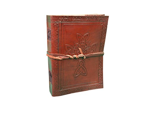 Handmade Vintage Antique Look Genuine Leather Bound Christian Catholic Journal Diary Notebook Travel Book with blank Unlined Pages to write for Men Women Gift for Him Her Celtic Cross 7x5 Inch