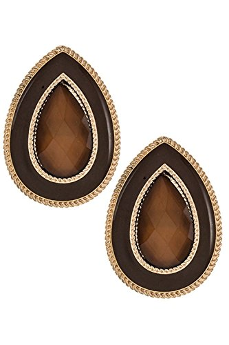 Trifari Pierced Earrings - Trendy Fashion Jewelry Big Teardrop Shape Faceted Stone Detailed Framed Post Earring By Fashion Destination | (Brown)