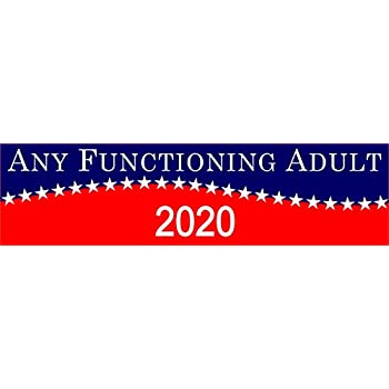 Any functioning adult 2020 sticker 2020 funny campaign bumper sticker