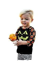 Theshy Toddler Baby Girls Boys Long Sleeve Pumpkin Print Tops Halloween