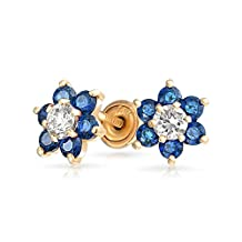 Bling Jewelry 14k Gold Flower Baby Safety Screwback Studs