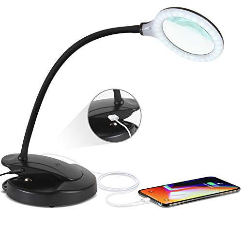 Price comparison product image Brightech - LED Magnifying Lamp with USB Charging Port - Lightview Pro 2-in-1 Lighted Glas Magnifier with Stand,  Clamp - Dimmable,  Bright Light for Reading