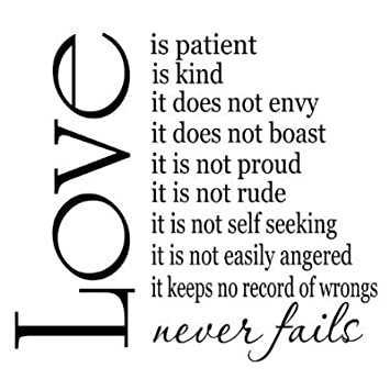 Amazon Love Is Patient Love Is Kind 60x60 Vinyl Wall Sayings Enchanting Love Is Patient Quote