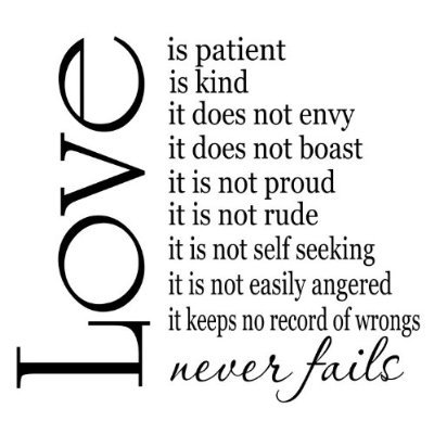 Love Is Patient Quote Inspiration Amazon Love Is Patient Love Is Kind 48x48 Vinyl Wall Sayings