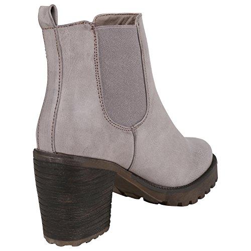 napoli-fashion Damen Stiefeletten Chelsea Boots Blockabsatz Profilsohle Schuhe Jennika Grau Glatt