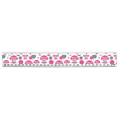 Leopard Print Pink and Black 12 Inch Standard and Metric Plastic Ruler