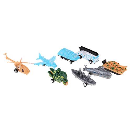 B Baosity キッズおもちゃ プルバック 交通車両 トラック ヘリコプターなど 車おもちゃ 6色 - 武装車両