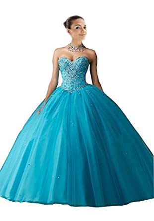 Mollybridal Bling Rhinestones Tulle Sequined Ball Gown Quinceanera Prom Dresses Blue 2