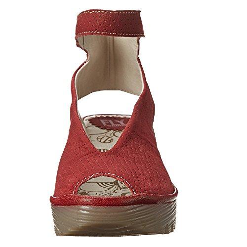 Fly London Kvinners Yala Perforerte Kile Sandaler Cordoba Rød