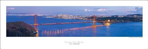 Panorama Landscape (San Francisco Golden Gate Bridge At Night Art Print Panoramic #9 (Panorama) Poster)