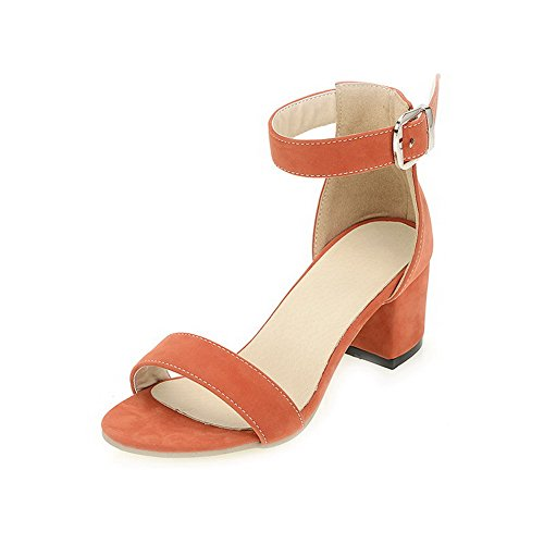 AllhqFashion Mujeres Sólido Tacón ancho Puntera Abierta Hebilla Sandalias de vestir Naranja