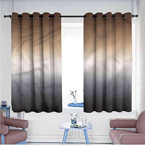 Mdxizc Novel Curtains Ombre Brown and Grey Pattern Bedroom Blackout Curtains W63 xL72 Suitable for Bedroom,Living,Room,Study, - Satin Yarn Sport Ombre