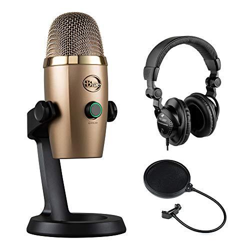 Multi Pattern Usb - Blue Yeti Nano Multi-Pattern USB Condenser Microphone (Cubano Gold) with Polsen HPC-A3 Studio Monitor Headphones & Pop Filter Bundle