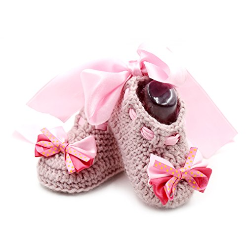 Ankle Pink Bow Ribbon Baby a 6 mths 3 Newborn Handmade Crochet Pink with 7 Boots Bow Pink Sneakers amp; Booties 17qWpf