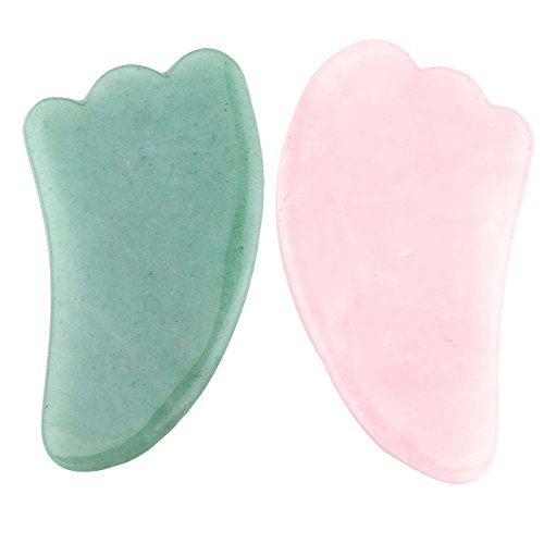 CCbeauty 2 Pcs Gua Sha Scraping Massage Tools Natural Stone 100% Handmade Guasha Board For SPA Acupuncture (Jade Massage Stones)
