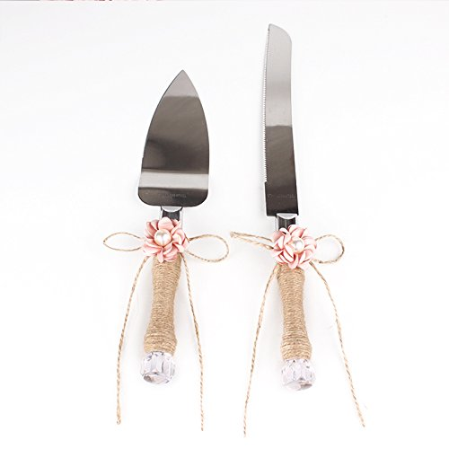 ETbotu Rustic Wedding Cake Knife and Server Set, Bowknot Floral Bridal Shower Gift with Twine Handle(Pink)