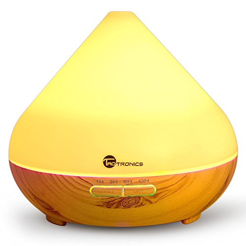 Diffuser, TaoTronics 300ml Essential Oil Diffuser with Cool Mist and 7 Colors (Portable Aromatherapy + Ultrasonic Aroma Humidifier, Mist and Light Control, Timer + Auto Shut-off)