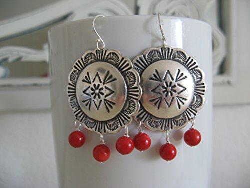 Coral Disc Earrings - 1