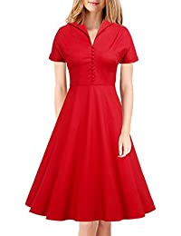 Womens Classy Vintage 1940s Short Sleeves Rockabilly Swing Evening Dress